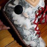 39 разм. Зима. Ammann Эксклюзивные ботинки на овчине. снаружи кожа и мех пони длина по внутренней с