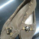 Замшевые туфли мокасины