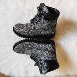Черные серые меланж белые деми ботинки высокие шнуровкой тракторная подошва сапоги низкие