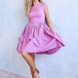 Расклешенное сиреневое платье s-xl