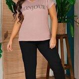 Костюм женский футболка вискоза штаны двунитка горчица мокко белый