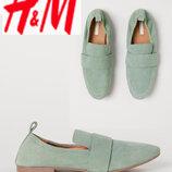 Мятные кожаные туфли лоферы H&M Премиум р.40/41