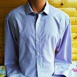 Классическая хлопковая рубашка английской марки George в мелкую клетку.