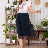 Летний костюм футболка и пышная юбка-плиссе 42-48р