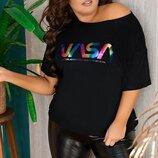Женская футболка батал ткань фискоза с принтом арт.67973 скл.1