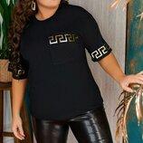 Женская футболка батал ткань вискоза с принтом арт. 67969 скл.1