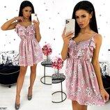 Платье сарафан мини супер софт принт цветочный голубой розовый бежевый