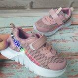 Детские летние кроссовки на девочку сетка с подсветкой
