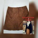 Новая коричневая замшевая юбка трапеция короткая мини Германия hallhuber XL натуральная замша кожа