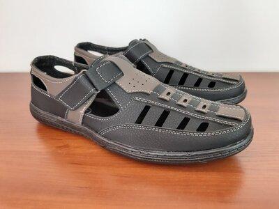 Босоножки сандалии мужские черные прошитые - босоніжки сандалі чоловічі чорні