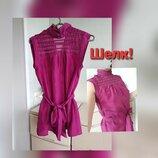 Шелковая блуза с поясом гольф натуральный шелк топ warehouse 8