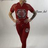 костюм Производство турция Ткань двунитка Украшен камнями, Цвета чёрный,пудра,белый,красный