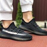 Adidas x Yeezy Boost кроссовки женские демисезонные черные с серым 9421