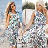 Котонновое платье на лето в бирюзово- фиолетовые мотивы