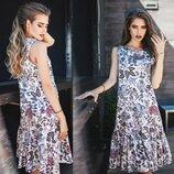 Котонновое платье на лето в Фиолетовые мотивы