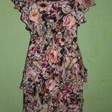 Легкое летнее платье с воланами H&M p. S