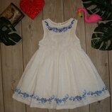 2-3 года платье хлопковое хлопок с вышивкой next Next
