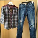 Стильный лук джинсы рубашка zara
