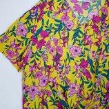 Новая блуза завязывается на узел цветочный принт желтый топ рубашка батал на пуговицах