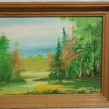 Картина маслом в деревянной буковой рамке.
