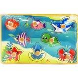 Деревянная игрушка Рамка-Вкладыш MD 2384-01 Морските животные