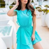 Платье с воланами евробенгалин органза пудра ментоловый голубой белый синий