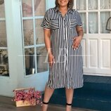 Платье-Рубашка в полоску полубатал
