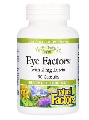 Natural Factors, Eye Factors с 2 мг лютеина. Здоровье глаз, зрение. Сша