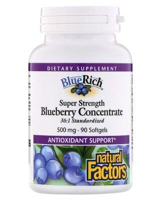 Natural Factors. Концентрат черники, 500 мг, 90 шт. Сша