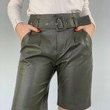 Шорты из экокожи шорты из кожзама шорты из искусственной кожи цвет хаки