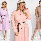 Платье-Рубашка с тоненьким поясом миди большие размеры