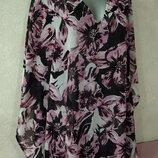 46-48-50-52/м-l-xl bonprix, роскошная широкая пляжная туника в розовых цветах