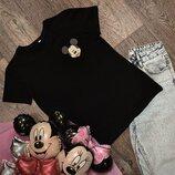 Женская футболка хлопок черная с принтом Mickey Mouse микки маус
