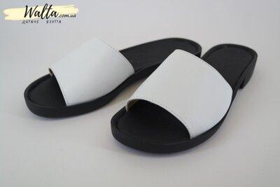 36-40р Натуральная кожа шлепки шлепанцы женские подростковые Ailinda Украина черные с белым