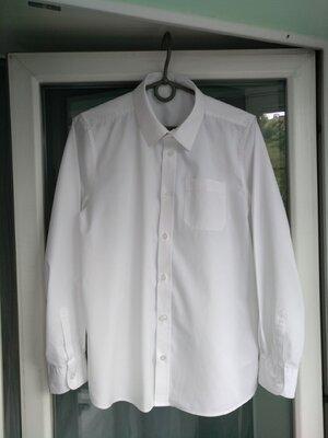 Рубашка школьная F&F р.152-158 мальчику 12-13лет белая форма школа сорочка