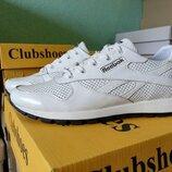 Кожаные мужские летние кроссовки Reebok 40-45 р-ры белые Стильные мужские кроссовки высокого качест