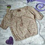 Блузка Bershka женская коричневая в цветы