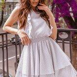 Платье женское в горошек Размерный ряд 42,44,46,48 Материал легкий воздушный суперсофт
