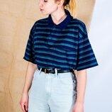 Женская футболка-поло в полоску, женская футболка полосатая, жіноча футболка поло