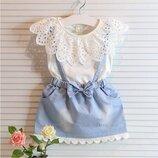 Нежное бело-голубое платье с оборками р. 3-4 года