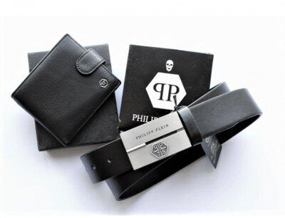 Мужской подарочный набор кошелек ремень Philipp Plein черный