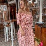 Платье цветы лён
