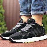 Мужские кроссовки Adidas Nite Jogger Boost 3M,черно белые