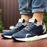 Мужские кроссовки Adidas Nite Jogger Boost 3M,темно синие с белым