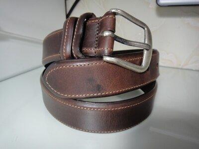 Продано: Итальянский кожаный коричневый 3,4 см ремень, пояс SOUD BRASS
