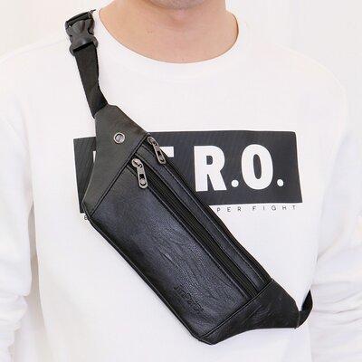 Тонкая мужская сумка на пояс. Сумка-Бананка. Поясная сумка. Кс59