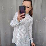 Шикарная белая блузка рубашка в горошек с разрезами
