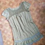 Летний сарафан платье оверсайз ришелье шитье прошва кружево этно размер L/наш 44-46рр