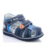 Сандалии детские кожаные ортопедические для мальчика синий цвет размер 21-26