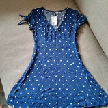 Платье летнее в горошек H&M Англия, новое, вискоза, размер UK8, EUR36